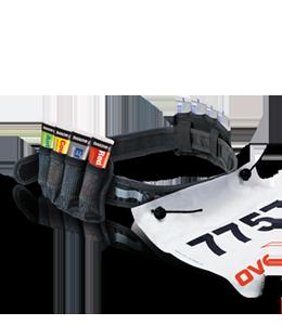 Race number belt with 8 gel loops